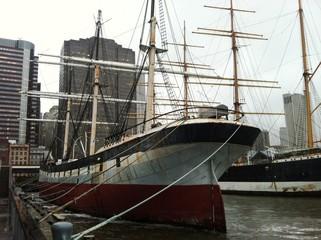 Boat docked in port