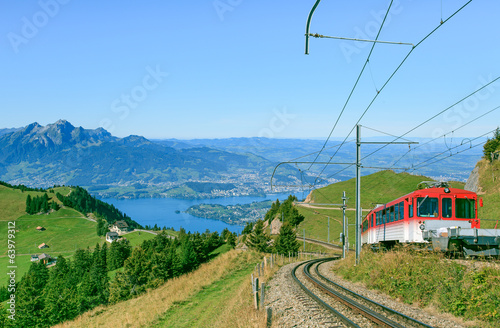 Cogweel railroad on the Mt. Rigi