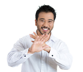 Modesty, laughing young man asking to stop white background