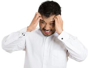 Headache, stress. Unhappy, upset business man