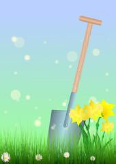 Gartenarbeit - Spaten mit Narzissen