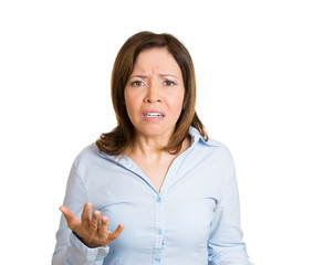 How could you do this to me? Upset woman on white background