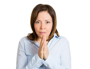 Plotting revenge middle aged woman on white background