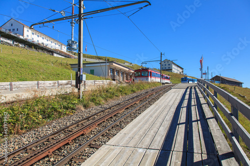 Cogwheel railway station on the top of Mt. Rigi