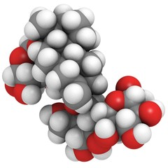 Stevioside natural sweetener and sugar substitute molecule.