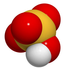Sulfuric acid (H2SO4, oil of vitriol) molecule