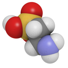 Taurine molecule. Common ingredient of energy drinks.