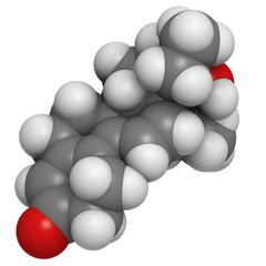 Tetrahydrogestrinone (THG) anabolic steroid drug molecule.