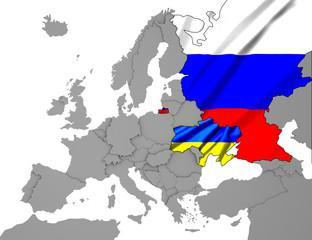 Ukraine- Russland Karte