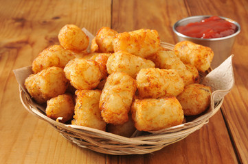 Tater tots and catsup