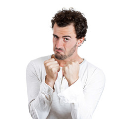 Boxer. Portrait Upset angry man fists up, on white background