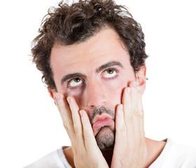 Tired of life failed. Headshot sad gloomy man, white background