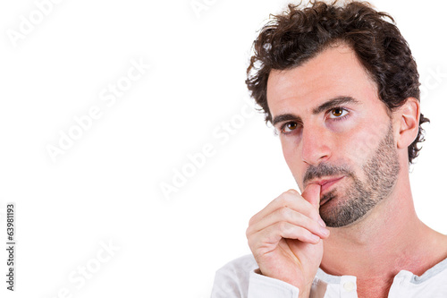Thumb sucking. Clueless man thinking, looking for right answer