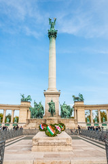 BUDAPEST, HUNGARY - SEP 29: Tourists visit Millennium Monument i