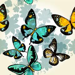 Beautiful seamless vector  pattern with butterflies