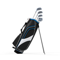 Golf Clubs and Bag Isolated
