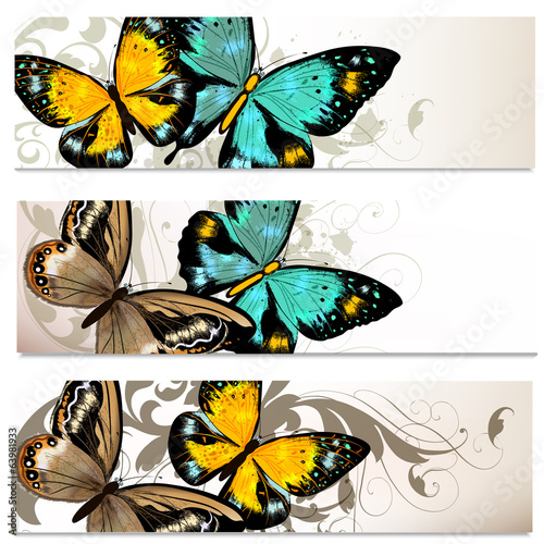 Business cards set with butterflies for design