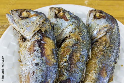 fried mackerel in plate
