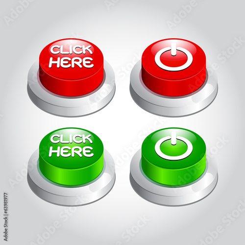 illustration of click here power button icon vector