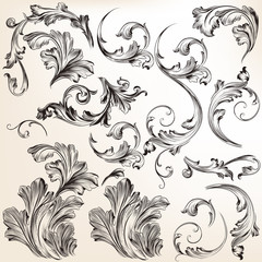 Set of vector swirl flourishes for design
