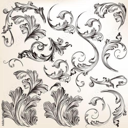 Set of vector swirl flourishes for design