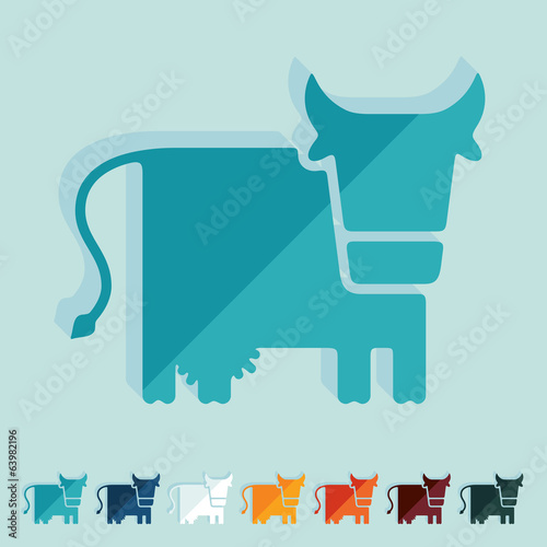 Flat design, cow, livestock, farm