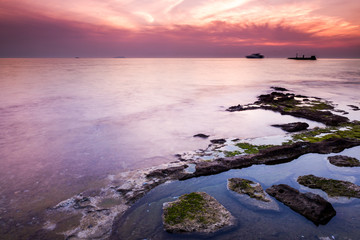 Ligurian sea coast at sunset