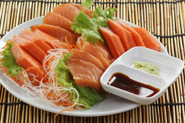 Fresh Salmon sashimi set on the plate