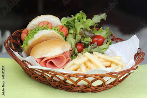 freshly Hamburger in a basket