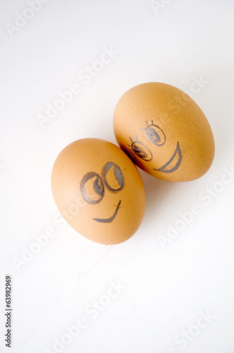 two faces eggs