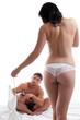 Slim topless girl flirting with handsome guy