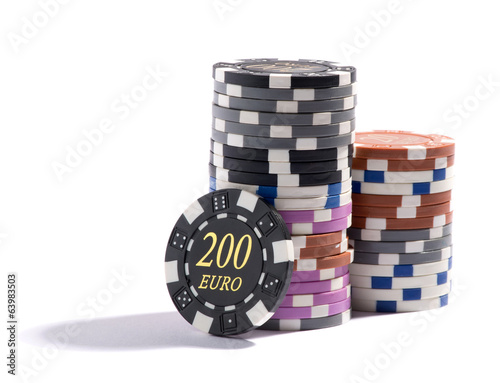 Stack of casino chips in different denominations