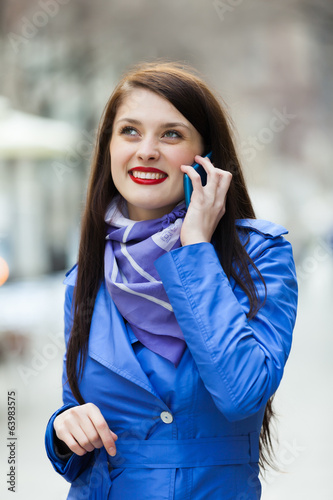 canvas print picture woman calling by mobile