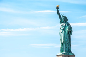 Statue of Liberty against the blue sky