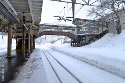Train station in winter time.