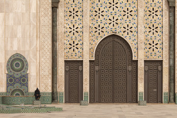 Casablanca, Morocco: Ornate exterior brass door of Hassan II Mos