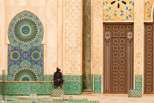 Casablanca, Morocco: Ornate exterior brass door of Hassan II Mos Poster