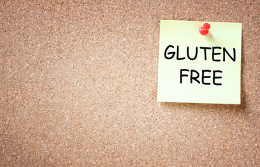 sticky note with the phrase gluten free. room for text