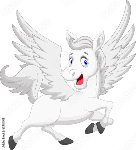 White unicorn horse cartoon