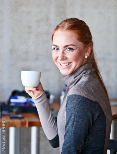 beautiful woman with white cup