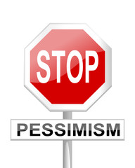Red stop sign with a table pessimism - vector