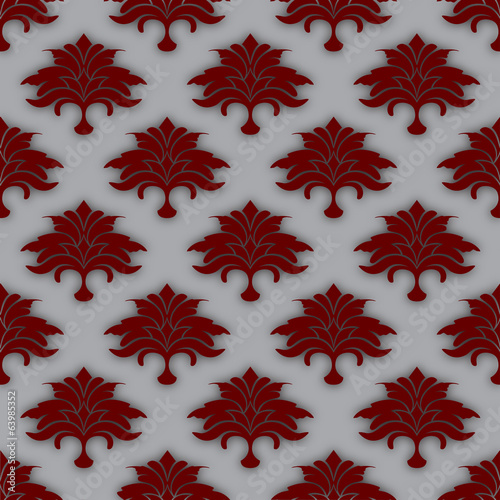grey background with red flowers and leaves