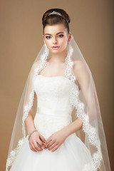 Wedding. Portrait of Lady with White Veil