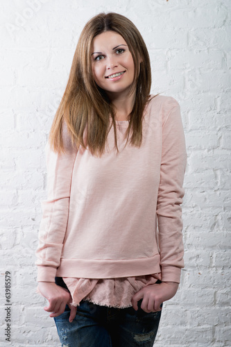 portrait of young pretty cute blonde girl