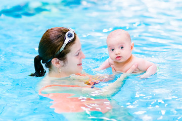 Funny baby boy having fun in a swimming pool with his mother