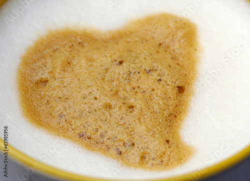 Closeup cappuccino  with heart