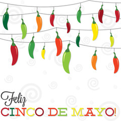 'Feliz Cinco de Mayo' (Happy 5th of May) strings of peppers in v