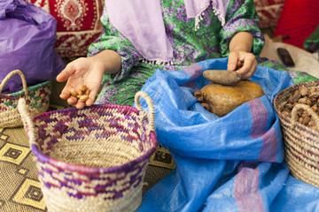 Woman on argan oil factory in Morocco