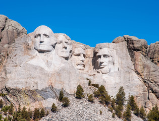 Mount Rushmore National Monument in South Dakota. Summer day wit