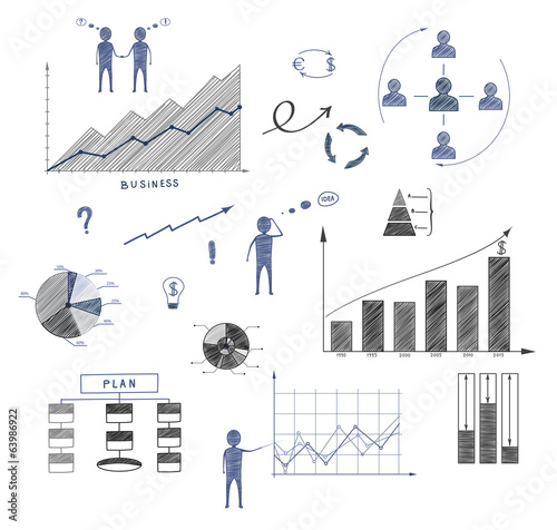 Business doodle, elements of infographics, business plan, financ